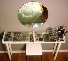 vanity/makeup storage idea