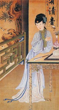 """十二美人圖。雍親王題書堂深居圖屏『消夏賞蝶』,1709-1723。""""The Twelve Beauties,"""" """"Twelve Concubines of the Emperor Yongzheng""""#8"""