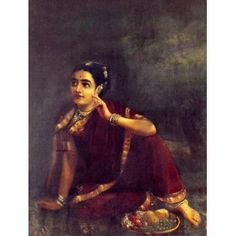 Radha waiting for Krishna/Expectation (Ravi Varma Print)