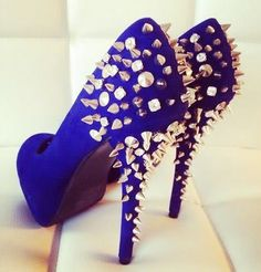 Blue Heels with Studs