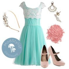 """Breathtaking Belle Dress in Mint"" by modcloth on Polyvore"