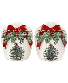Spode Christmas Tree Ribbons Salt and Pepper Set