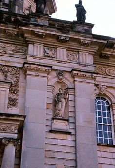 Castle Howard, North Yorkshire, England ( Sir John Vanbrugh and Nicholas Hawkmoor: 1699 - Detail of north elevation of main block. Yorkshire England, North Yorkshire, Castle Howard, Manor Houses, Chateaus, Country Houses, Famous Places, Classical Architecture, Moorish
