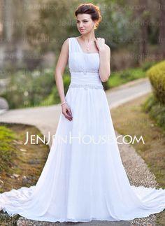 Wedding Dresses - $152.99 - A-Line/Princess One-Shoulder Court Train Chiffon Wedding Dress With Ruffle Lace Beadwork (002011709) http://jenjenhouse.com/A-Line-Princess-One-Shoulder-Court-Train-Chiffon-Wedding-Dress-With-Ruffle-Lace-Beadwork-002011709-g11709