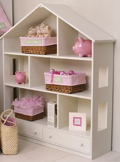 Children's room storage ideas with doll-houses, pretty bookshelves and ferris wheels that serve as storage. Wood Plastic, Dollhouse Bookcase, Done By Deer, Little Girl Rooms, Kids Furniture, Girls Bedroom, Kids Room, Children Playroom, Playroom Ideas