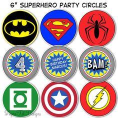 "Superhero Party Circles, Superhero Birthday Decor, 6"" Superhero Logo Centerpieces - Printable. $6.00, via Etsy."