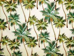 Waikiki Natural Tropical Hawaiian Palm Trees on nubby bark cloth fabric