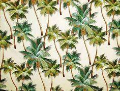 Waikiki Natural Tropical Hawaiian Palm Trees on nubby bark cloth fabric