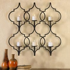 Alternative Wall Decor Zakaria Metal Candle Wall Sconce by Uttermost at Becker Furniture World Vintage Wall Sconces, Rustic Wall Sconces, Candle Wall Sconces, Outdoor Wall Sconce, Wall Sconce Lighting, Uttermost Lighting, Wall Mirrors, Beige Candles, Candle Holder Decor