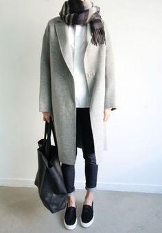 Grey long coat, denim and slip on sneakers