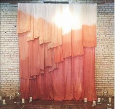 Waller Cheesecloth Backdrop - Loot Rentals Backdrop // Dip-Dyed Cheesecloth / Loot Vintage Rentals<br> Shades of peach, coral, and pink grace this beautiful layered backdrop handmade and constructed by our Loot team. Diy Backdrop, Ceremony Backdrop, Wedding Backdrops, Vintage Backdrop, Fabric Backdrop, Backdrop Design, Backdrop For Photobooth, Wedding Backdrop Rentals, Backdrop Event