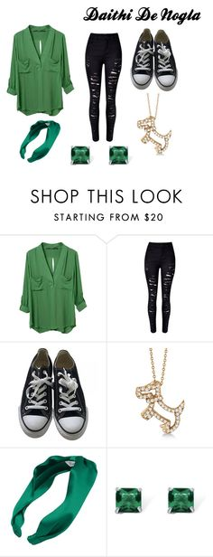 """Daithi De Nogla Inspired Female Outfit"" by sharzard15 on Polyvore featuring WithChic, Converse, Allurez, L. Erickson and Palm Beach Jewelry"