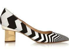 Low Heels, High Appeal...For the eye-catching statement...Nicholas Kirkwood zigzag-print suede pumps ($695). We're thinking these would go perfectly with black-and-white