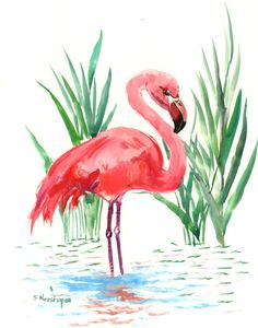 Flamingo artwork one of a kind painting pink flamingos, original watercolor painting, flamingo wall art, flamingo decor by ORIGINALONLY on Etsy Flamingo Illustration, Watercolor Illustration, Watercolor Paintings, Pink Watercolor, Flamingo Drawings, Simple Watercolor, Painting Abstract, Painting Art, Flamingo Painting