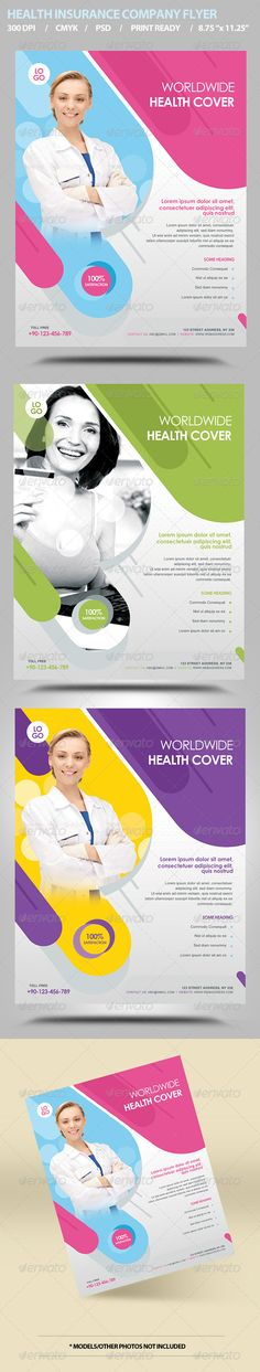 """Health Insurance Flyer Template  #GraphicRiver         SPECIFICATIONS: 1) Dimensions: 8.75"""" by 11.25"""" in size with bleeds 2) Resolution: 300 dpi CMYK / ready for print 3) Editable fonts/text 4) Easy to change colors 5) JPEGS included 6) Properly Layered 3 Photoshop Files 7) Help file included  3 color options   FONTS USED:   Century Gothic: // Default System Font //   Arial: // Default System Font //   Please note model photos are not included in download. However you can download them…"""