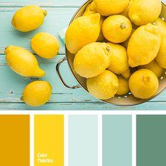 color match for wardrobe, color solution for home, dark turquoise, lemon color, pale turquoise, pale-light blue, saffron, shades of lemon colors
