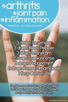 Essential oil massage blend for arthritis joint pain and inflammation. Try this natural treatment using Rosemary Black Pepper Marjoram Frankincense Peppermint and Roman Chamomile. Essential Oils For Massage, Doterra Essential Oils, Doterra Oil, Frankincense Essential Oil Uses, Essential Oils For Inflammation, Essential Oils Arthritis, Chamomile Essential Oil, Marjoram Essential Oil, Essential Oil Blends