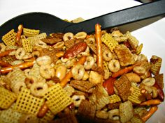 The original Chex Party Mix recipe featuring Cheerios! Cheerios Recipes, Chex Mix Recipes, Recipes Appetizers And Snacks, Yummy Snacks, Snack Recipes, Yummy Food, Party Snacks, Savory Snacks, Party Treats