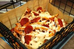 Pizza Fries- make vegetarian by omitting the pepperoni and possibly adding green pepper and onion