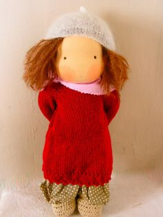 Organic waldorf doll with simple knitted dress 14 by eszterlanc8
