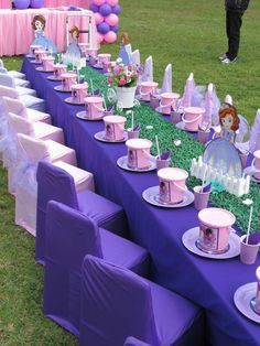 Princess Sofia Party Decorations-Parties are of every second types and due to their diversified nature, alternating types of decorations are required. Frozen Birthday Party, Sofia The First Birthday Party, First Birthday Party Decorations, Disney Princess Birthday Party, Princess Tea Party, First Birthdays, Marie, Party Ideas, Table Settings