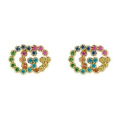 GUCCI 18Kt Golden Gold Earrings With Multicolor Stones ($1,880) ❤ liked on Polyvore featuring jewelry, earrings, gucci, gold stone earrings, gold jewelry, stone earrings and golden earring