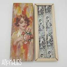 """Beautiful set of vintage Trafalgar silk suspenders, with the """"Daphne"""" pattern by Calvin Curtis. New old stock, still in their original box. Kiwiana, Conversation Starters, Suspenders, 1950s, Silk, Antiques, Box, Pattern, Painting"""