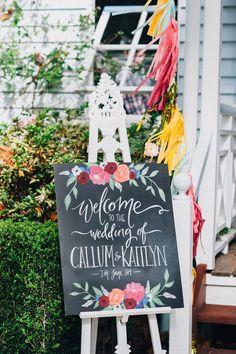 amazing chalk board sign, photo by Jess Jackson ruffledblog.com/... #weddingideas #signs