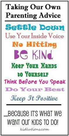 Set a good example :)
