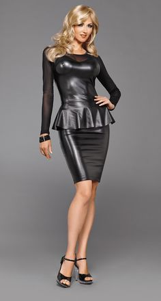 STRETCH LEATHER PEPLUM DRESS by Suddenly Fem