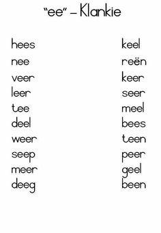 Ee klanke Preschool Learning Activities, Preschool Worksheets, Kindergarten Themes, Free Printable Alphabet Worksheets, Worksheets For Grade 3, Afrikaans Language, Grammar Posters, Spelling Words, Basic Math