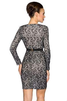 - elegantes Vintage-Kleid - mit leichter Schulterpolsterung - tiefer V-Ausschnitt mit Spitzenborte - lange Ärmel - über den Stoff gelegte Spitze - inklusive Gürtel mit...