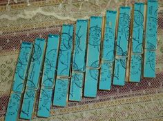 Blue French Script Clothes Pins by wildcardtradingco at Etsy
