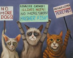 Cats Painting - Cats On Strike by Leah Saulnier The Painting Maniac