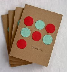Thank You Card Set with Red and Aqua Starbursts by RainyDayColors, $5.99