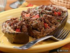 Wait till you try our easy Stuffed Eggplant. If you& worried that an eggplant dinner recipe won& fill you up. think again! Low Carb Recipes, Cooking Recipes, Steak Recipes, Healthy Recipes, Stuffed Eggplant, Good Food, Yummy Food, Healthy Food, Tasty
