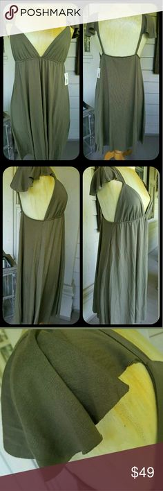 """LaRok SEXY mamacita Dress w/shoulder coverlets vavavoom .sexy as all get out.deep plunging neckline,open back sleeveless dress w/ funky shoulder coverlets..lolol I can't think of any other way to describe, pls see pics  color ARMY  Sz L might work for a M. dress form displayed on typically  fits a s/m or 6/8 best so.if busty but more of med might work as well ,it is a soft jersey fabrication that is drapey & flattering as well as stretchy so will accommodate quite a bit of """"girth"""" for lack…"""