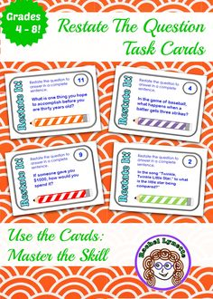 Restate the Question Task Cards: The perfect way to master this skill! $