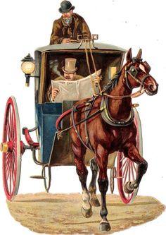 Oblaten Glanzbild scrap die cut chromo Kutsche 17cm coach Pferd cheval horse