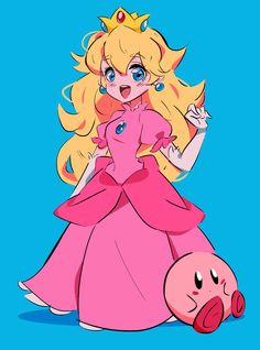 Princess Peach and kirby for tonight. Something quick before sleep. Super Mario Brothers, Super Mario Bros, Super Smash Bros, Super Mario Princess, Mario And Princess Peach, Nintendo Princess, Princess Daisy, Pokemon, Game Character