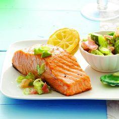 Salmon with avocado-ginger salsa