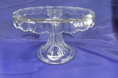 Antique Heisey Glass Cake Stand, Unknown Drape Pattern