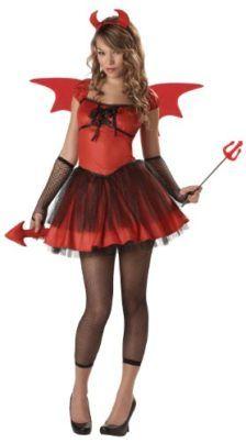 Girls Fire Devil Tail Horns Wings Halloween Horror Fancy Dress Costume Outfit