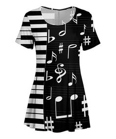 Love this Black & White Music Note Scoop Neck Tunic - Plus Too on #zulily! #zulilyfinds