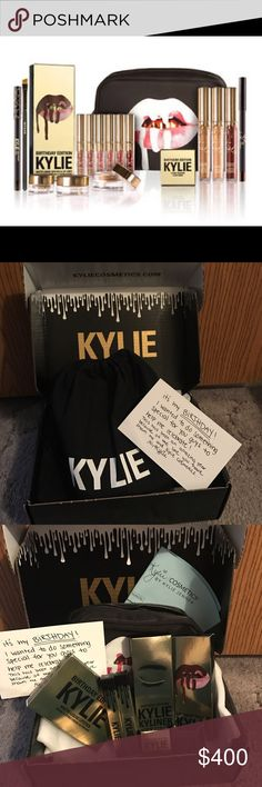 NWT Limited Edition Kylie Birthday Bundle NWT Limited Edition Kylie Birthday Bundle Contains: 1 Lord Metal Lipstick, 1 Poppin' Gloss, 1 Leo Matte Liquid Lipstick and 1 Leo Pencil Lip Liner, 1 Mini Matte Liquid Lipstick kit containing the following shades: Exposed, Dolce K, Koko K, Candy K, Kristen and Leo, 1 Rose Gold Crème Gel Shadow, 1 Copper Crème Gel Shadow, 1 Dark Bronze KYLINER kit containing 1 Crème Gel eyeliner, 1 Pencil Eye Liner and 1 full sized synthetic small angled brush, 1…