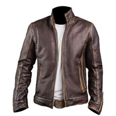 Mens Cafe Racer Stylish Biker Brown Distressed Leather Jacket | Clothing, Shoes & Accessories, Men's Clothing, Coats & Jackets | eBay!