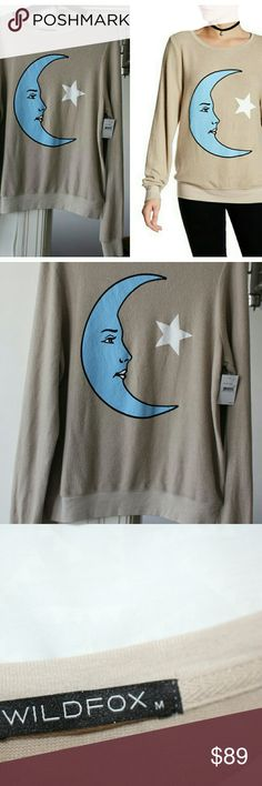 """Wildfox Moon and Stars baggy beach jumper sz M Strethy and soft pullover, color """"tea time"""", oversize Wildfox Sweaters Crew & Scoop Necks"""