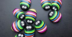cute! – color bugs – painted rocks in rainbow brights with googlie eyes – would make cutie cute gridge magnets