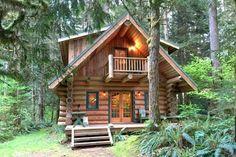 Cute log cabin in the woods