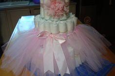 Pink Tutu Diaper Cake Kit; Handmade Tutu & Headband; Girls Princess Theme Shower; New Mom to be Gifts; Ballerina Theme; Table Centerpieces by SimplyCreatedForYou6 on Etsy